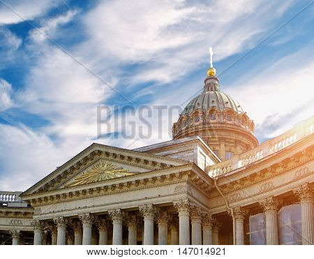 Closeup of Kazan Cathedral in St Petersburg Russia. Kazan Cathedral in St Petersburg Russia in the sunset light. Soft focus applied. Architecture landscape of St Petersburg landmark