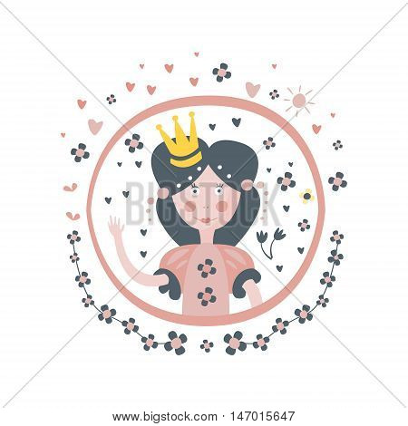 Princess Fairy Tale Character Girly Sticker In Round Frame In Childish Simple Design Isolated On White Background
