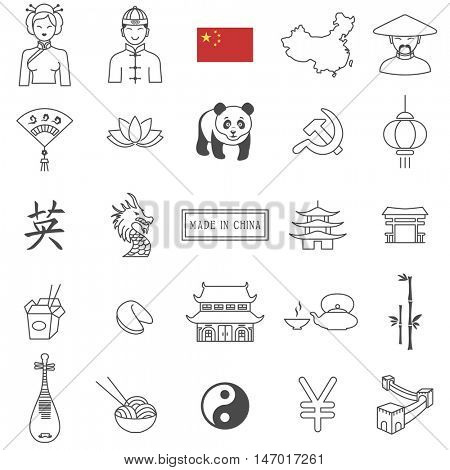 China  travel  line icons and culture symbols. Vector set