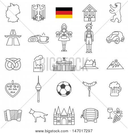 Germany travel line icons and culture symbols. Vector set