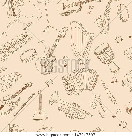 Hand drawn music seamless background pattern with guitar, keyboard, synthesizer, drum pedal, guitar bass, Vector illustration