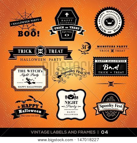 Vintage Halloween Labels And Frames