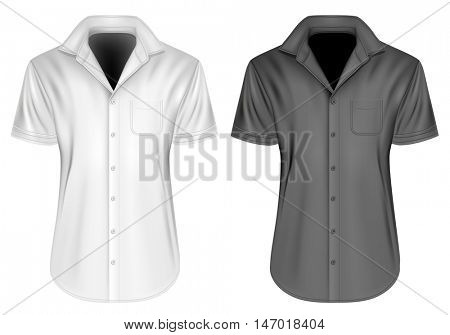 Men's short sleeved formal button down shirt with open collar. Fully editable handmade mesh, Vector illustration.