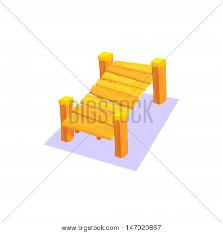 Elevated Wooden Pier Jungle Village Landscape Element. Cool Colorful Vector Illustration In Stylized Geometric Cartoon Design