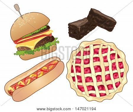 an illustration of american fast food including a burger in a bun a hot dog chocolate brownies and cherry pie on a white background, vector