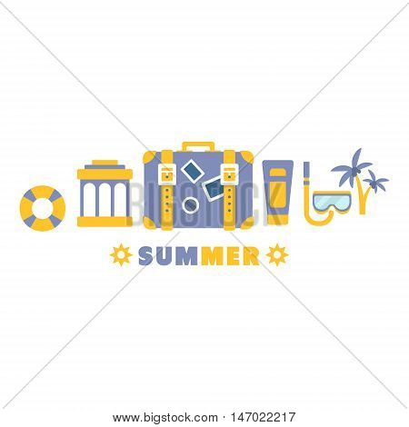 Beach Vacation Symbols Set By Five In Line Blue And Yellow Clipart Vector illustration On White Background