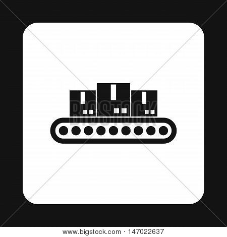 Belt conveyor with load icon in simple style isolated on white background. Products symbol vector illustration