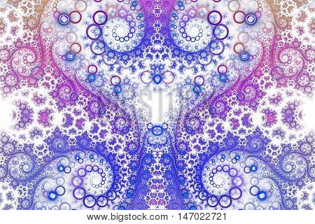 Abstract intricate spiral ornament on white background. Symmetrical pattern. Fantasy fractal design in bright blue violet pink and beige colors.