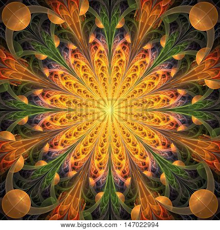 Abstract floral ornament on black background. Symmetrical pattern. Fantasy fractal design in green orange yellow and pink colors.