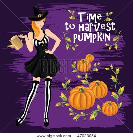Vector illustration of redhead girl in witch costume holding watering pot in her hand. Pumpkin isolated on color background