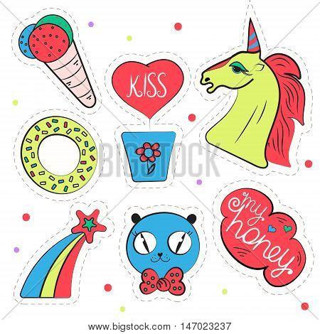 Funny vector set of pop art badges patches flat icons. Collection of cartoon design elements. Baby stickers for little girls with unicorn rainbows ice cream cat isolated on white.