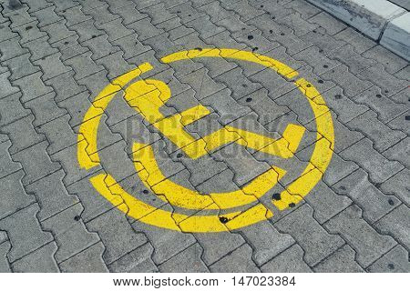 Sign for reserved parking space lot for disabled person