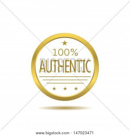 Golden authentic label. Golden Business badge, Vector illustration