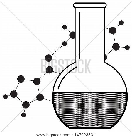 Laboratory glassware. Beaker isolated. Abstract laboratory image. Vector illustration.