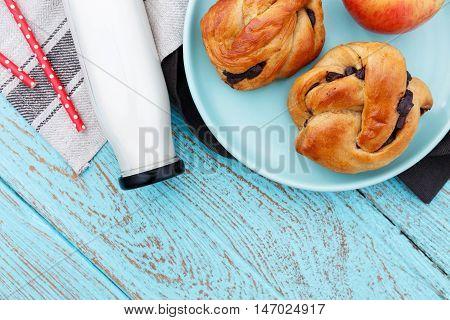 Breakfast On Wood Background