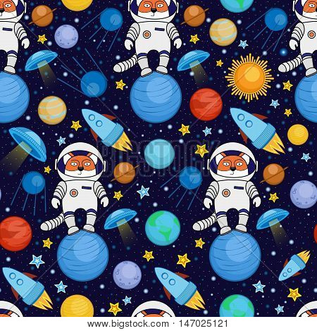 Colorful seamless cartoon space pattern with fox astronauts, rockets, planets, stars on starry night sky background. Cute and bright space travel seamless pattern with a fox spaceman in outer space