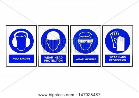 Wear earmuffs or earplugs Wear head protection Wear goggles Wear hand protection Blue and white Safety signs.
