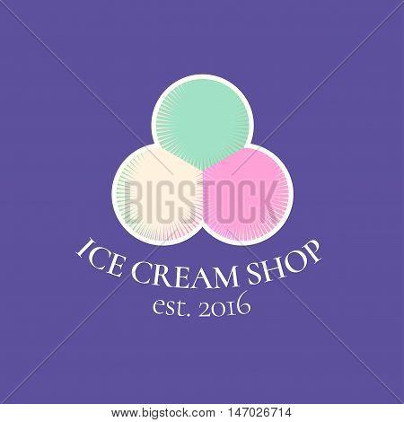 Ice cream vector logo symbol emblem. Vintage design element for homemade ice cream shop with multi flavors round scoops