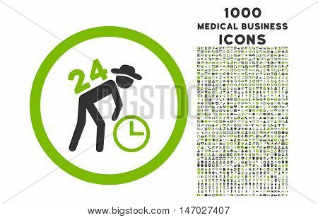 Around the Clock Work rounded vector bicolor icon with 1000 medical business icons. Set style is flat pictograms, eco green and gray colors, white background.
