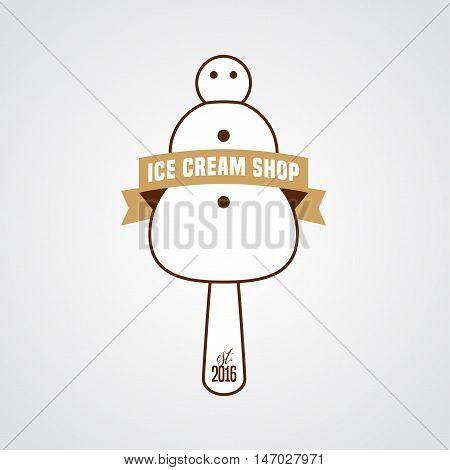 Original ice cream vector logo sign symbol icon emblem. Template design element with snowman as ice cream and retro ribbon