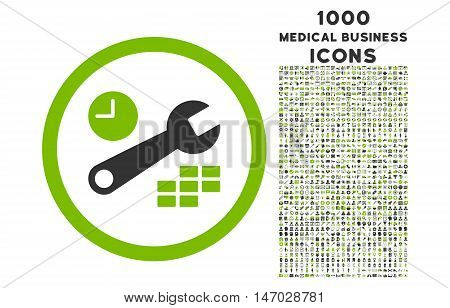 Date and Time Configuration rounded vector bicolor icon with 1000 medical business icons. Set style is flat pictograms, eco green and gray colors, white background.
