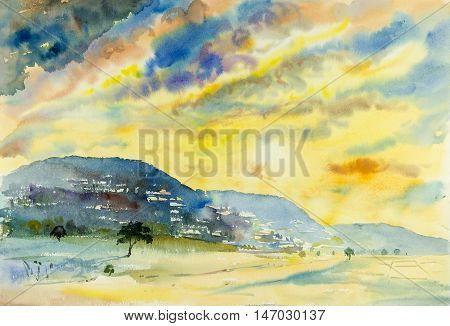 Watercolor landscape painting colorful of mountain and emotion in blue background .Original painting