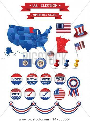 US Presidential Election 2016. Minnesota State. Including High Detailed Map of Minnesota Perfect for Election Campaign