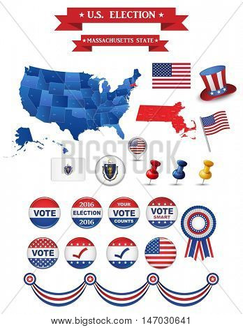 US Presidential Election 2016. Massachusetts State. Including High Detailed Map of Massachusetts Perfect for Election Campaign.