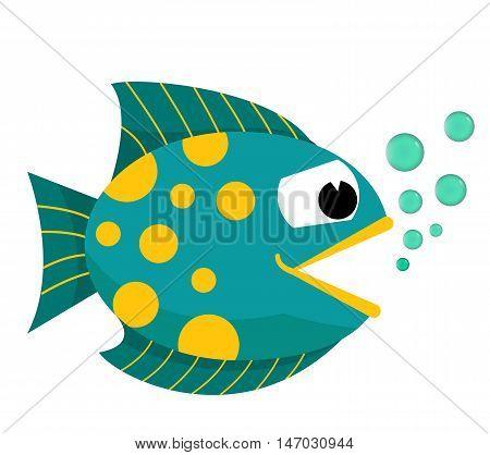 Cartoon fish  cartoon vector illustration. Eps10. Isolated on a white background.