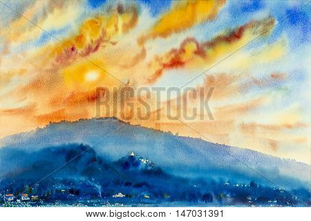 Watercolor landscape original painting colorful of mountain and emotion in sunset cloud background