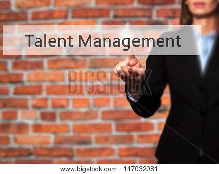 Talent Management - Businesswoman Pressing High Tech  Modern Button On A Virtual Background