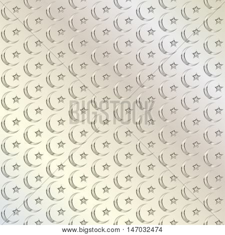 Muslim background. Abstract pattern in Arabian style. Islamic ethnic ornaments. The crescent and star. Religious traditions. Elegant background for cards invitations. Vector illustration.