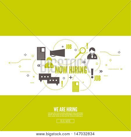 Recruitment. Concept search better candidate for open position. We are hiring, hr. Job offer. Wanted employee, staff. Vector