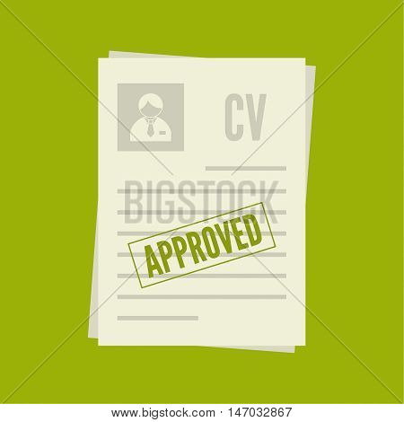 A pack of sheets of paper with a stamp of approval. Summary with  mark about acceptance. Cv approved. resume, personal file