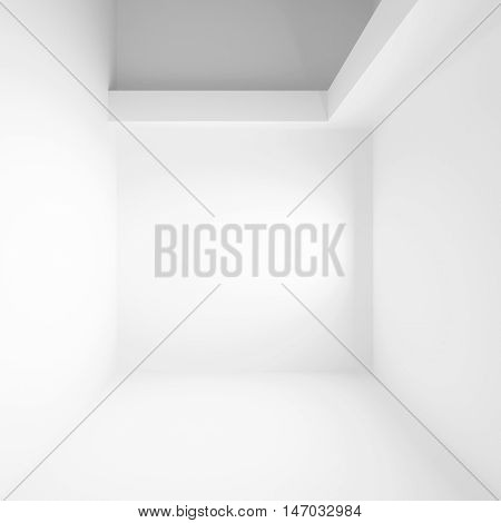 White abstract interior. Square 3 d illustration