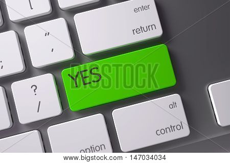 Yes Concept Modern Keyboard with Yes on Green Enter Key Background, Selected Focus. 3D Illustration.