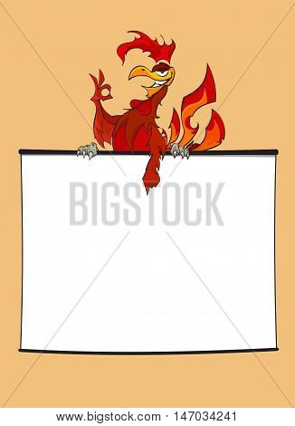 Hand drawn illustration. Fiery Red Rooster with okay sign points to information on clear board. Projector screen - stock vector