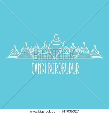 candi borobudur temple in Java island Indonesia vector line art thin outline
