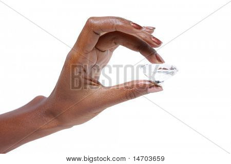 African American Female hand holding diamond over white background