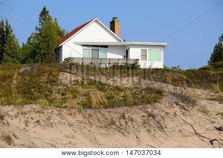 House in dunes, Point Betsie, Lake Michigan, MI, USA