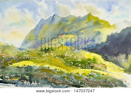 Watercolor original painting Landscape painting colorful illustration forest mountain range and emotion in cloud background