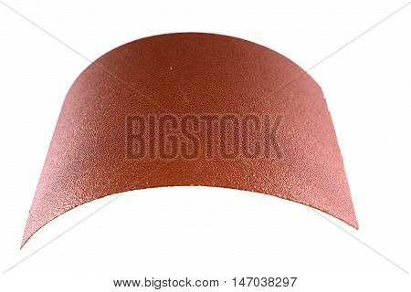 Piece of sandpaper isolated on white backgroud.