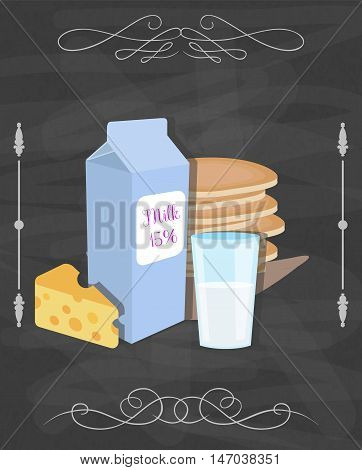 Milk products vector still life poster. Restaurant menu concept. Dairy products