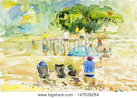 Watercolor landscape original painting colorful of swim holiday family and emotion in blue background