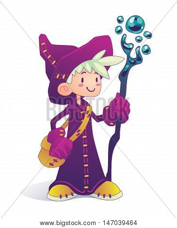 Happy cartoon mage character holding a stick isolated on a white background. Hero for illustration, fantasy RPG game or part of your design. Vector illustration.