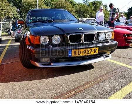 Amsterdam, The Netherlands - September 10, 2016: Black Bmw M5 E34 Touring 1994 On Display During Car