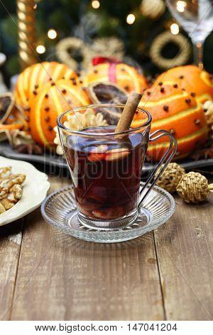 glogg, scandinavian mulled wine, traditional christmas hot beverage