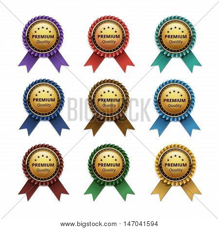 Vector Set of Top Quality Guarantee Golden labels with Colored Light Blue Turquoise Purple Violet Red Scarlet Green Brown Yellow Ribbons Close up Isolated on White Background.