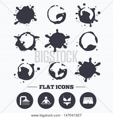 Paint, coffee or milk splash blots. Swimming pool icons. Shower water drops and swimwear symbols. Human stands in sea waves sign. Trunks and women underwear. Smudges splashes drops. Vector