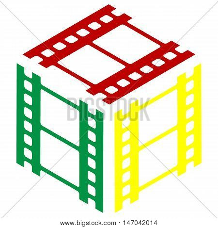 Reel Of Film Sign. Isometric Style Of Red, Green And Yellow Icon.